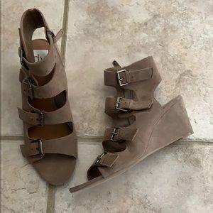 Dolce Vita tan vegan suede buckle heeled sandal